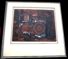 BERJ KAILIAN Listed ARMENIAN Signed Intaglio Artist Proof Print 1968 Abstract