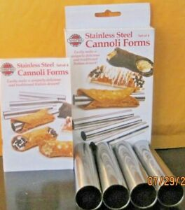 NORPRO STAINLESS STEEL CANNOLI FORMS RECIPES AND INSTRUCTIONS INCLUDED SET OF 4