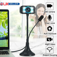 More details for hd webcam web camera with microphone led video for pc computer desktop laptop uk