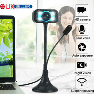 HD Webcam Web Camera With Microphone LED Video For PC Computer Desktop Laptop UK