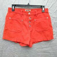 Vintage  Bongo High Rise Women's Short Shorts Waist is 29 inches Orange Corduroy