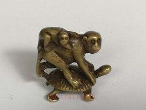 Collection Ancient Chinese Copper Carving Lovely Turtle Monkey Statue Pendant