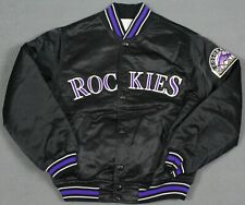 Colorado Rockies Vintage 90's Starter Snap Satin Jacket Black Youth Kids Medium