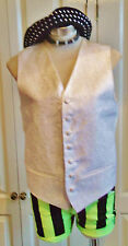 "STEAMPUNKcream Vintage Waistcoat.satin back,embroidered fabric,linED.size38""cheS"