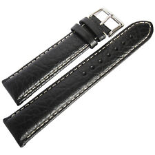17mm deBeer Mens Black Sport Leather Contrast Stitched Watch Band Strap