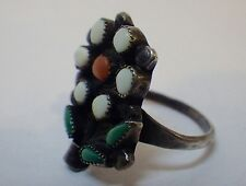 Vintage Zuni Sterling Silver Turquoise White & Red Coral Flower Pot Ring Size 6