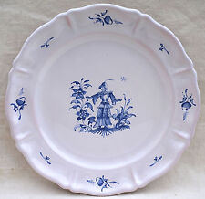 French Moustiers Blue & White Hand Painted Faience Lady Flowers Stefani Mint