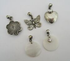 Vintage Antiqued Silver Charm Mix - Flower, Butterfly, MOP shell, Heart