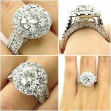 Engagement Ring in Real 14K White Gold 3.45Ct White Round Cut Halo Diamond Huge