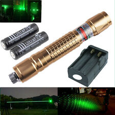 10 miles Green 1mw Powerful Laser Pointer Pen Light Strong Burning + 2x Battery
