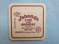 Beer Bar COASTER ~ JOHNNY'S Cafe & Brewery (CLOSED) ~ Omaha, NEBRASKA Est 1922