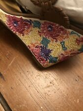 Jack Rogers Embroidered Floral Wedge Size 9