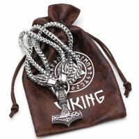 Stainless Steel Viking Wolf Head With Thor's Hammer Bear Wolf Pendant NECKLACE