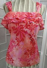 Sz S Mixit Pink Floral Sleeveless Lined Blouse With Ruffles.