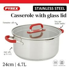 Pyrex 24cm Stainless Steel Casserole Stockpot Oven Safe Induction Compatible