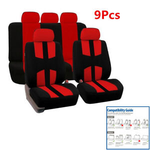 9Pcs Car Auto 5-Sits Seat Cover Set Black+Red Polyester Bird Eye Cloth Anti-slip