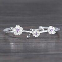 Damen Armband Silber 925 Armreif Einstellbar Kirschblüte Geschenk Women bracelet