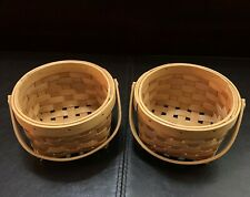 New ListingSet of 2 Wooden Woven Storage Baskets with Handle Small Portable Durable Bamboo