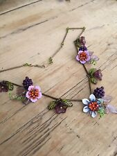 Art Deco /pre Raphaelites Vintage Style HEDGEROW BRAMBLE enamel flower necklace