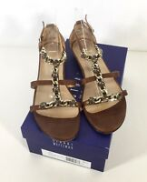 Stuart Weitzman LOPEZ Jeweled Chain Low Wedge Sandals Brown Leather size 9.5 m