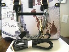 "SALE  Hand Bag with Eiffel Tower & Statue of Liberty 30"" Strap Cell Zipper"