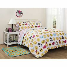 Girls Emoji Colorful Icons Full Comforter, Sheets & Shams (7 Piece Bed In A Bag)