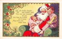 Christmas Postcard Santa Claus with Baby and Little Boy in His Lap~113240