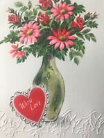 Vintage Valentines Day Card Glitter Vase Flowers Hearts Roses Pink Red