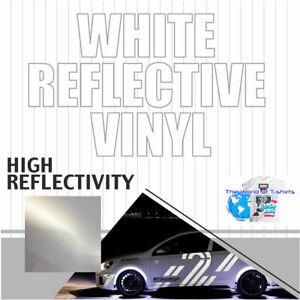 "12"" x 48"" 4FT White Reflective Vinyl Adhesive Sign Plotter High Reflectivity"