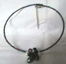 BEADED MULTI COLORED TINY BEADS LARGER PEARL SHAPED CLUSTER CHOKER NECKLACE