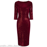 UK Vintage Red Velour Sequin Hollywood Wiggle Bodycon Pencil Cocktail Dress 8 18
