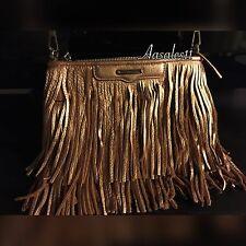 Rebecca Minkoff Finn Cross body ,Clutch  Copper Metallic Fringe  Silver