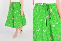 Vintage Kelly Green + Pink Butterfly Print Circle Skirt Peter Popovitch 4 to 6 S