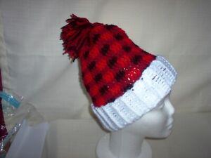 "Hand crochet hat , buffalo plaid, 18""  to 20"" head, buffalo plaid"