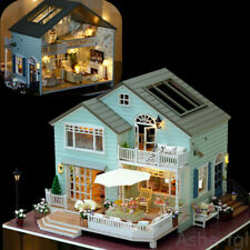 DIY Wooden Doll house Miniature Kit With LED+Furniture House Room Model Gift Set