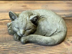STONE GARDEN LAYING SLEEPING CAT KITTEN MEMORIAL STATUE ORNAMENT