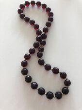 "Deco CHERRY AMBER Bakelite  Bead 19 1/2"" Necklace 14K Gold Spacers 35.3 gram"