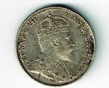 STRAITS SETTLEMENTS 1910 5 CENTS EDWARD VII FOREIGN SILVER COIN WITH DIE CRACK