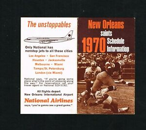 1970 New Orleans Saints National Airlines NFL Football Pocket Schedule