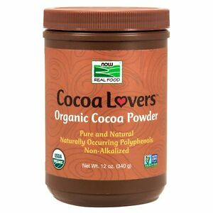 NOW Foods COCOA LOVERS Organic Instant Low Fat Cocoa Powder, 12 oz