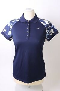 Rohnisch Ladies Leaf Block Polo Shirt - XS - Blue