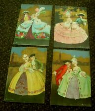 4 X 1920 COLOMBO ARTIST SIGNED ART DECO VICTORIAN COUPLES  GLAMOUR POSTCARDS