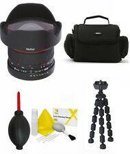8MM VIVITAR F/3.5 HD FISHEYE LENS + CASE + TRIPOD FOR CANON SL1 T3 T5 20D 40D 7D