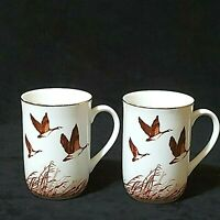 Vintage Otagiri Ceramic Cup Canadian Wild Geese White/Gold Rim Lot of 2 Preowned