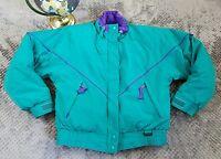 Vintage Eddie Bauer Goose Down Ski Jacket Bomber Green Purple Colorful Sz Small