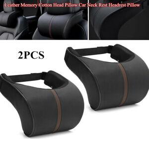 2xLeather Memory Cotton Head Pillow Universal Car SUV Neck Rest Headrest Pillow