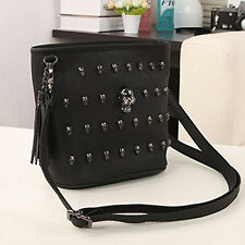 Women Ladies PU Leather Handbag Bag Tote Shoulder Cross Body Skull Rivets Black