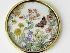 Vintage Suncatcher - Glass -  Hand Painted Wild Flowers & Butterfly,