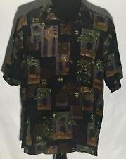 Tommy Bahama Palm Trees Beach Floral Size Large L Black 100% Silk Hawaiian Shirt