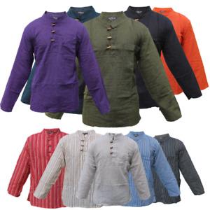 Men Hippie Shirt Collarless Plain Cotton Long Sleeve button boho Top striped s/m